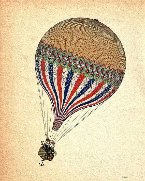 VINTAGE HOT AIR BALLOON Heißluftballon tattoo, Ballon
