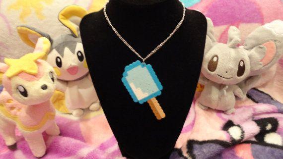 Kawaii Sea Salt ice cream pixel perler necklace   perler