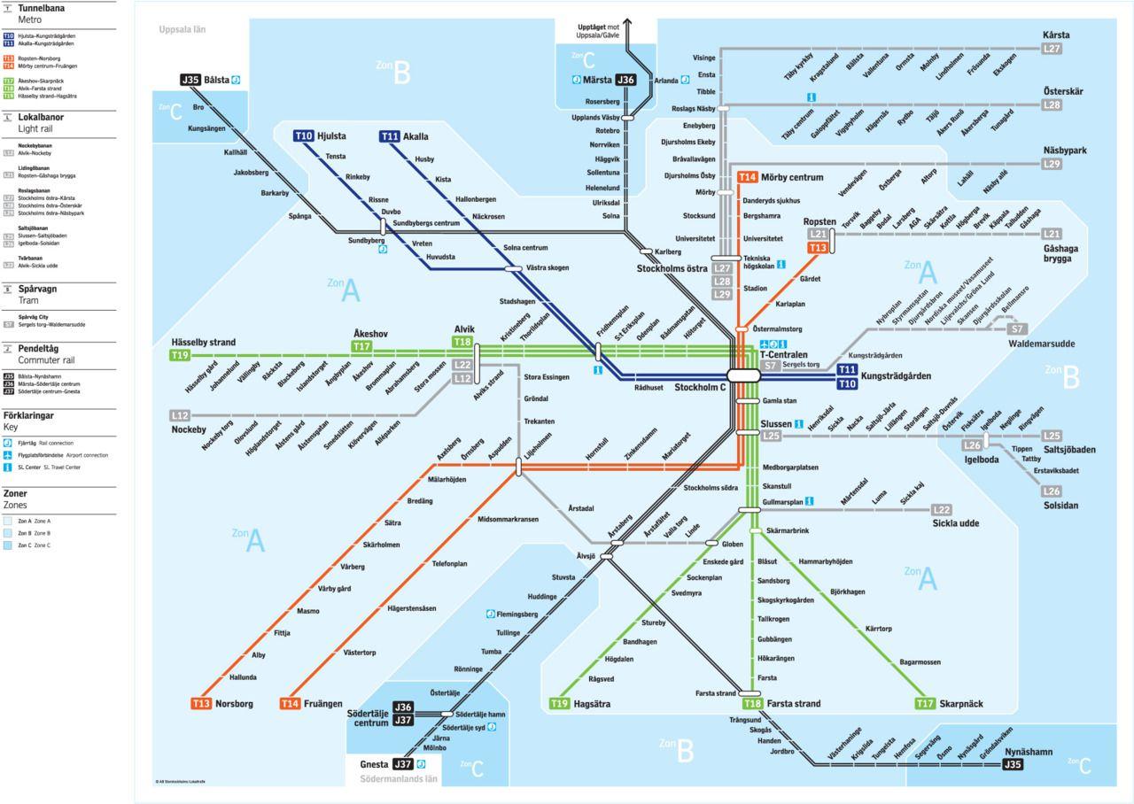 Rail Transit Of Stockholm Sweden Map Stockholm