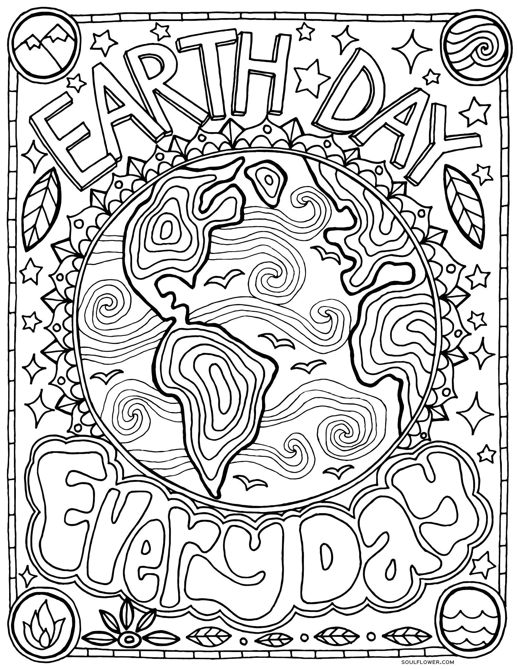 Free Earth Day Coloring Page Earth Day Every Day Earth Day Coloring Pages Earth Coloring Pages Earth Day Projects