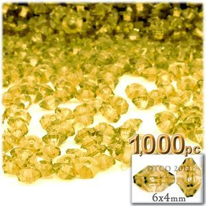 Plastic beads, Rondelle Transparent, 6x4mm, 1000-pc, Acid Yellow