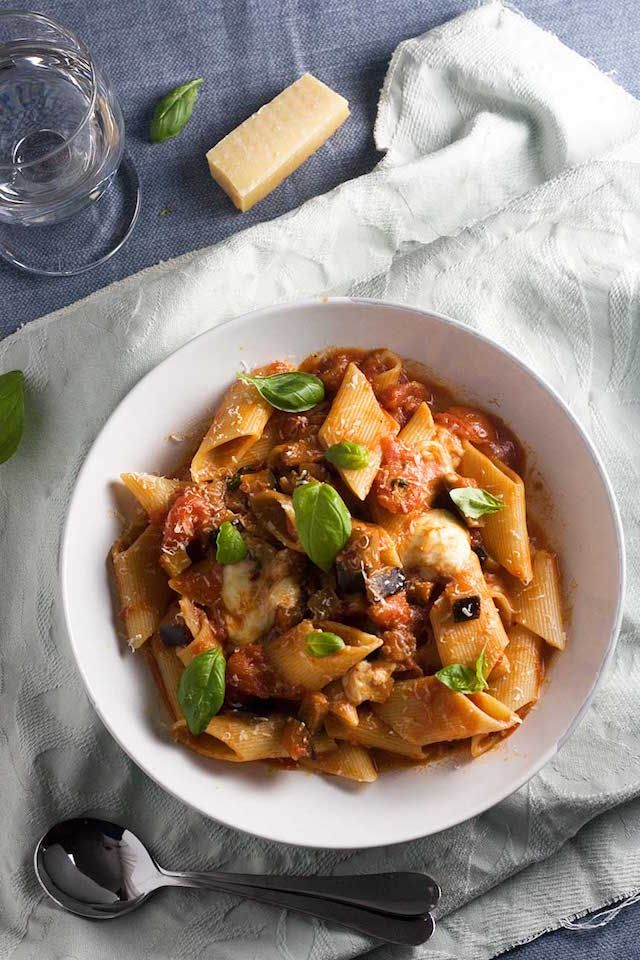 A simple Sicilian pasta with tomatoes and eggplant is everything you need on a cold winter night.