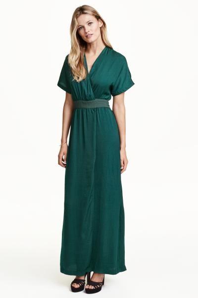 65461ca0bf H&M Szatén átlapolós ruha: Rövid ujjú szatén maxiruha átlapolós előrésszel,  kreppelt övvel. Béleletlen.