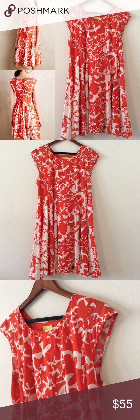 476583f2763b Anthro Maeve Bird Print Indiga Swing Dress 👗 L Beautiful spring colors.  Lace up tassel back. Size large. 100% rayon. Lined. Anthropologie Dresses