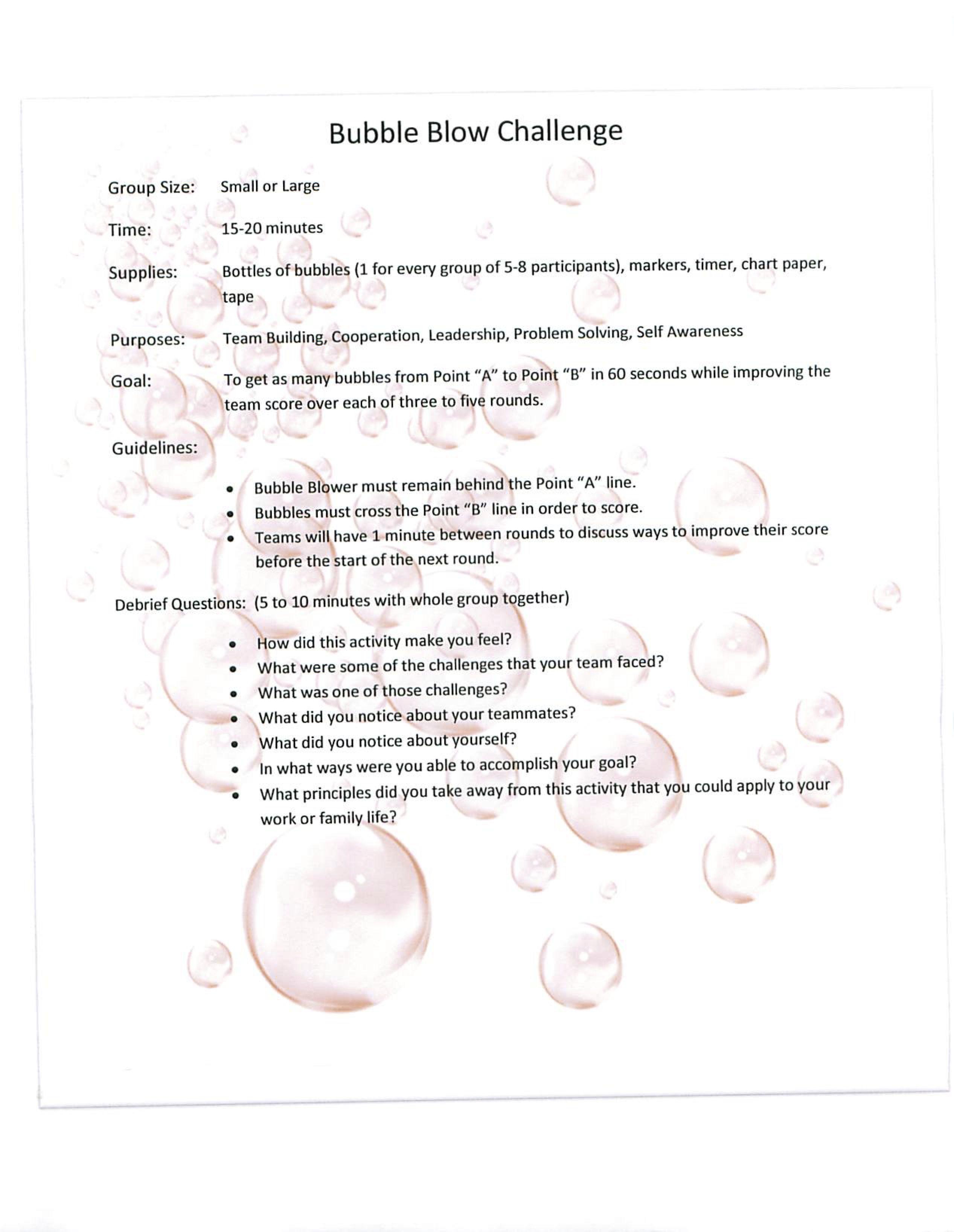 Bubble Blow Challenge