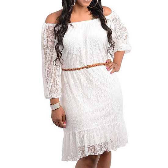 Details about 13 -1X 2X 3X Plus Size Belted 3/4 Sleeve Laced ...