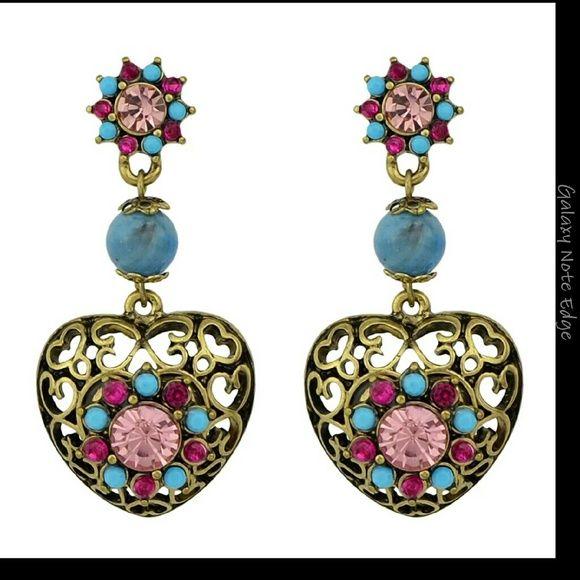 ce9548991 Heart shape rhinestone earrings Hollow out heart shaped rhinestone drop  pierced earrings. New. 2 in long Jewelry Earrings