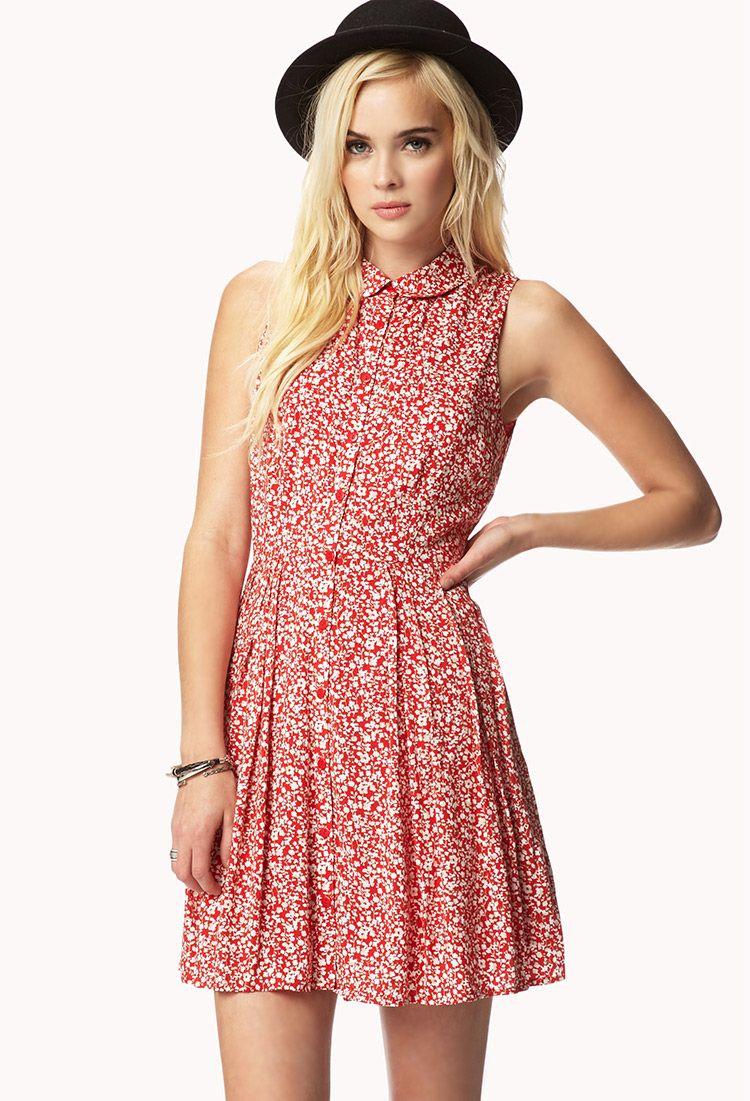 Pleated Floral Print Dress | FOREVER21 - 2046139575 | etc | Pinterest