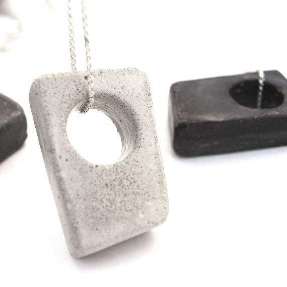 Unisex long silver & concrete necklace geometric pendant by shooohsJewelry