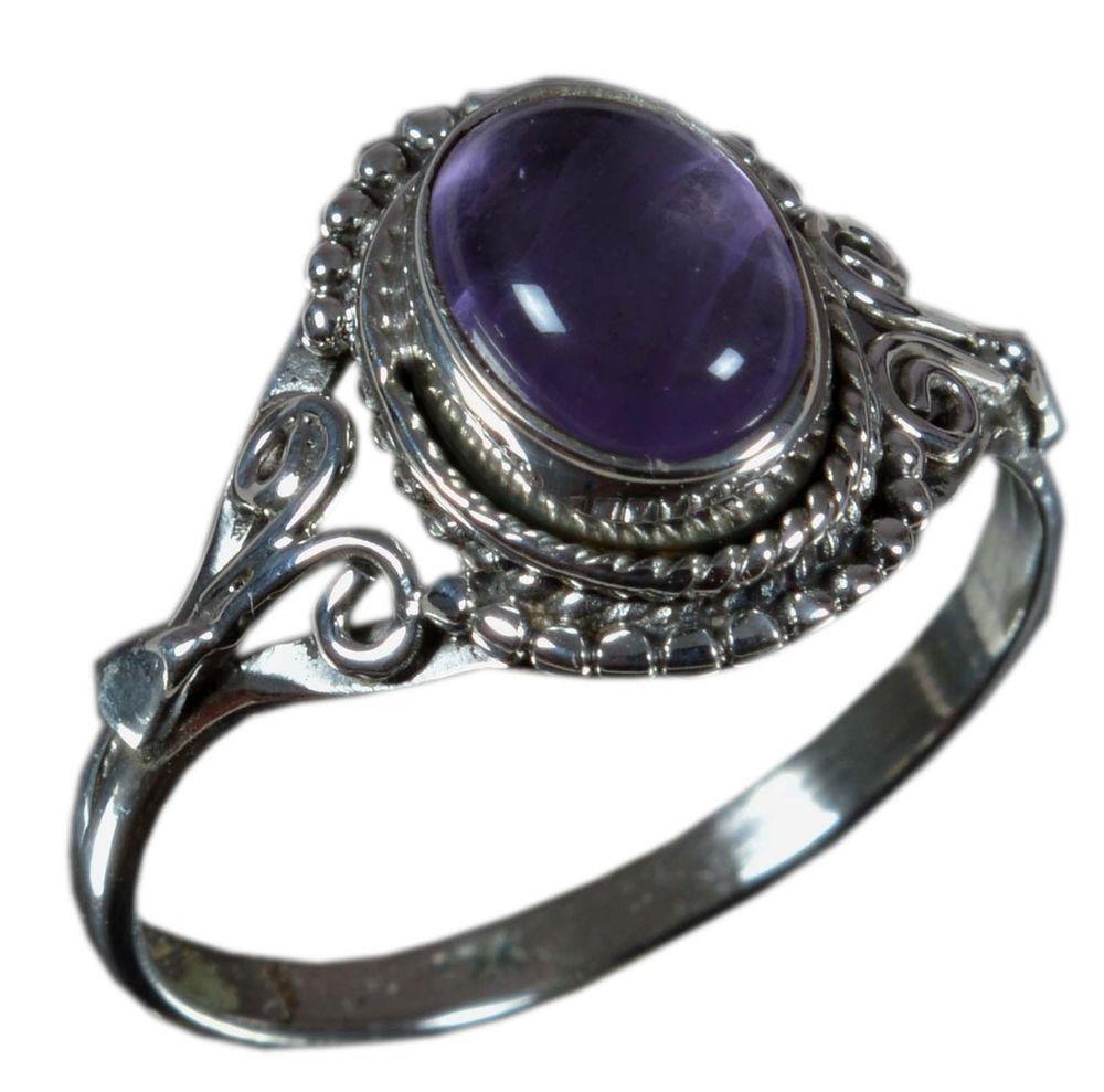 925 Solid Sterling Silver Ring Natural Amethyst Gemstone US Size 6.25 JSR-1345 #Handmade #Ring