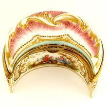 Antique French Hand Painted Porcelain Crescent Shaped Snuff Box, Gilt Interior