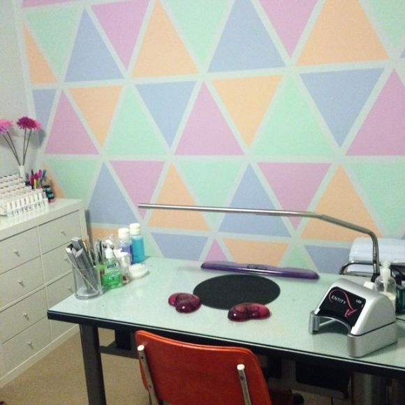 Love this bright and cheerful wall | home nail salon decor ideas ...