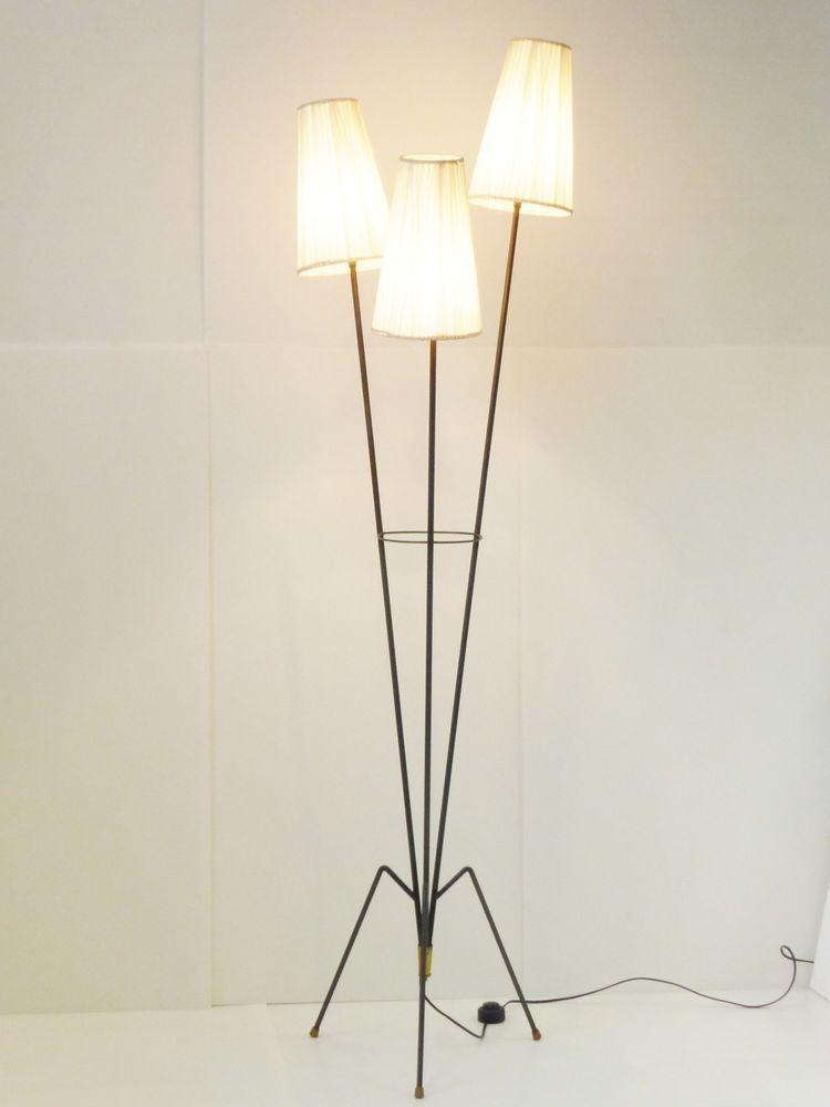 Lampadaire Tripode Pieds Sauterelle Vintage 1950 Vintage French 50 S Floor Lamp Lampadaire Tripode Lampadaire Floor Lamp