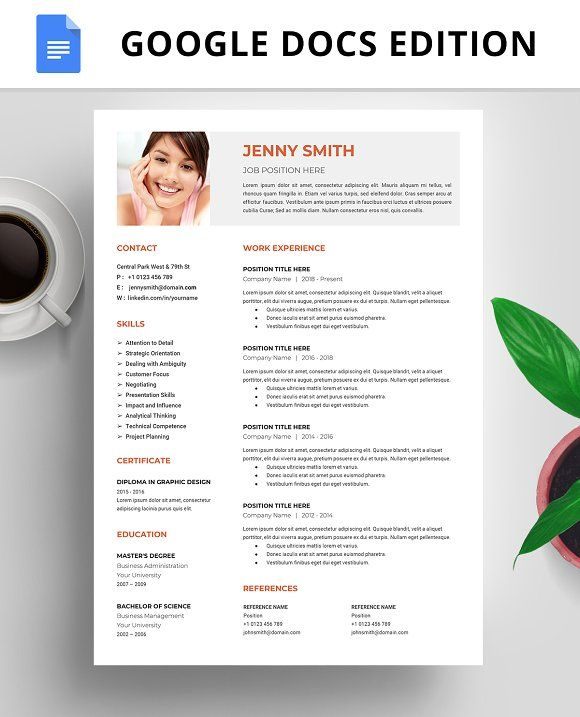 Resume Template, CV, Google Docs Pinterest Google docs, Template - google docs resume templates