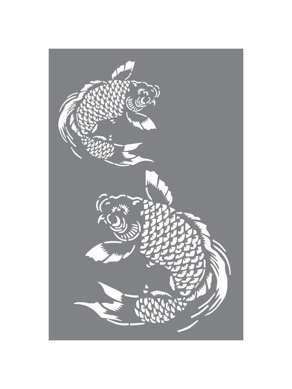 Koi oriantal asian decor fish pattern wall stencil thumbnail 1 decorating pinterest fish - Oriental stencils for walls ...