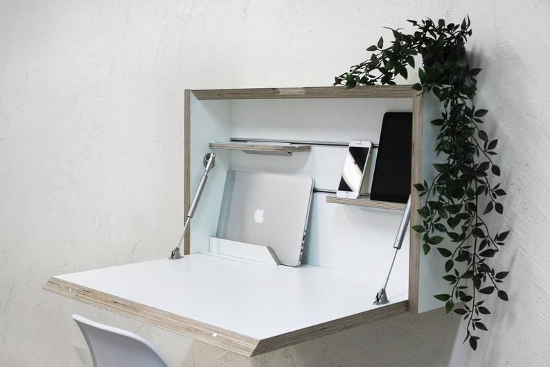 Wall Mounted Folding Desk Space Saving Desk Office Desk Etsy Space Saving Desk Folding Desk Desks For Small Spaces