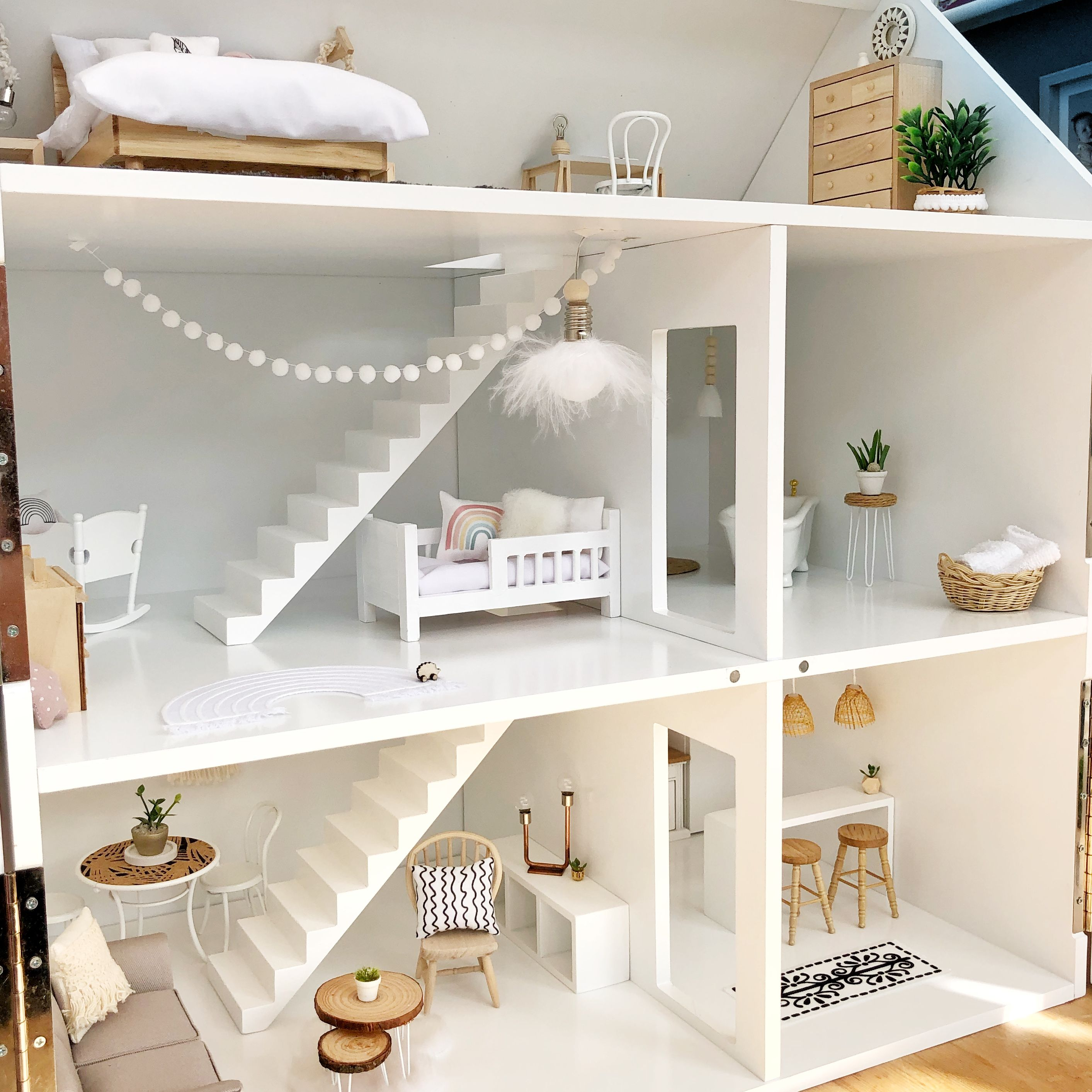 Photo of Light and airy modern dollhouse – white dollhouse