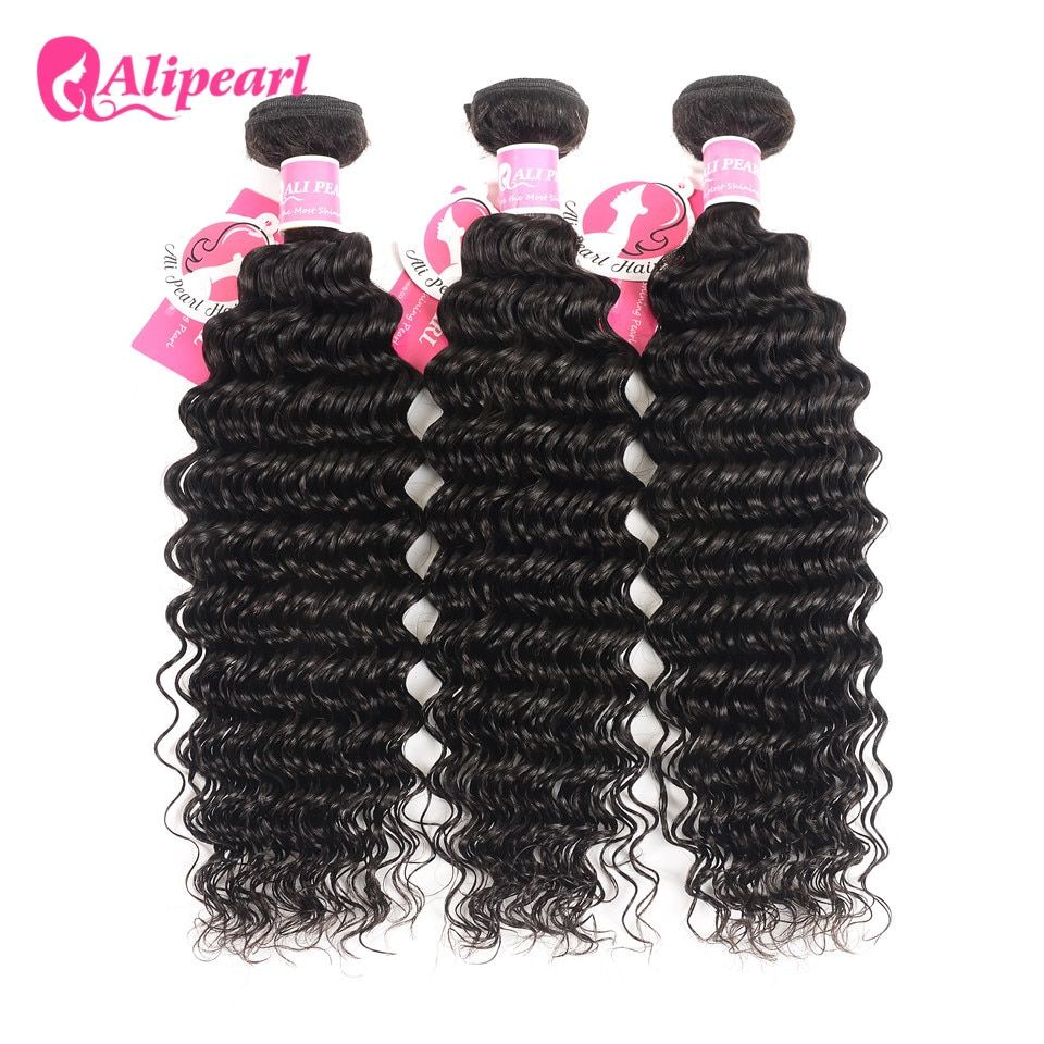 Deep Wave Human Hair Bundles With Closure 6x6 Free Part Pre Plucked Brazilian Bundles With Closure Remy Hair Extension Alipearl Hair Extensions & Wigs Human Hair Weaves