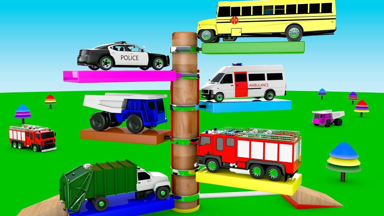Car toys for toddlers  Colors for Children to Learn with Street Vehicles Toys Multi Level