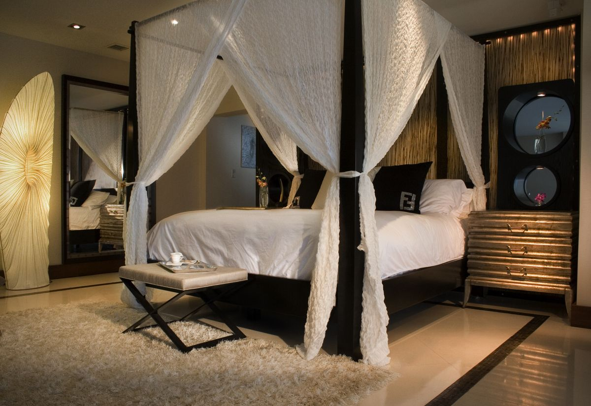 Bedroom Sets With Pillars bedroom inspiration with white canopy bed connectedblack