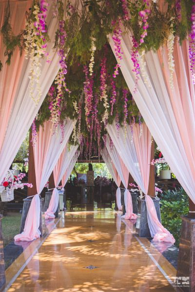 Photo Of Entrance Decor Idea With Beach And White Curtains And Floral Decor Wedding Reception Entrance Wedding Entrance Decor Wedding Entrance