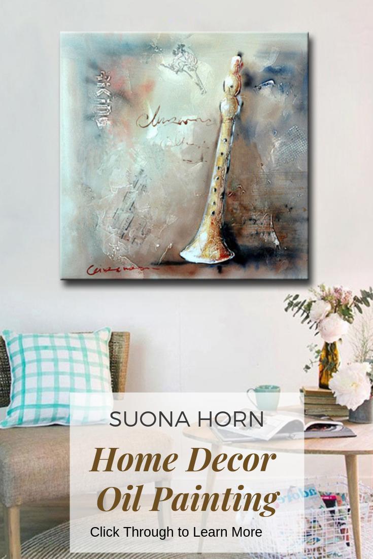 Suona Horn Hand Painted Musical Home Decor Wall Art Canvas