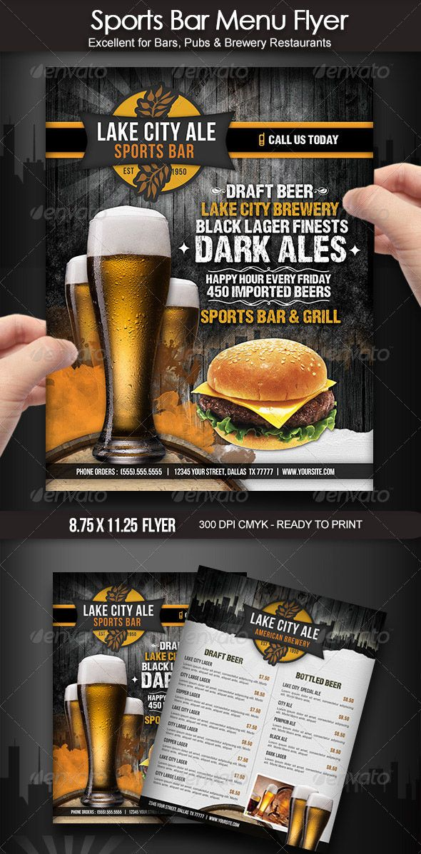 Sports Bar Menu Flyer  Restaurant Branding    Bar Menu