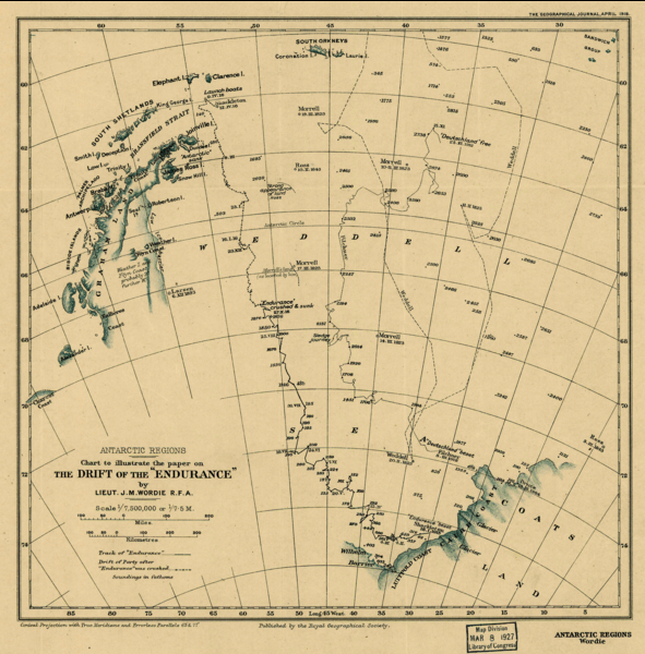 Contemporary map showing path of Endurance's drift and the escape route to Elephant Island.