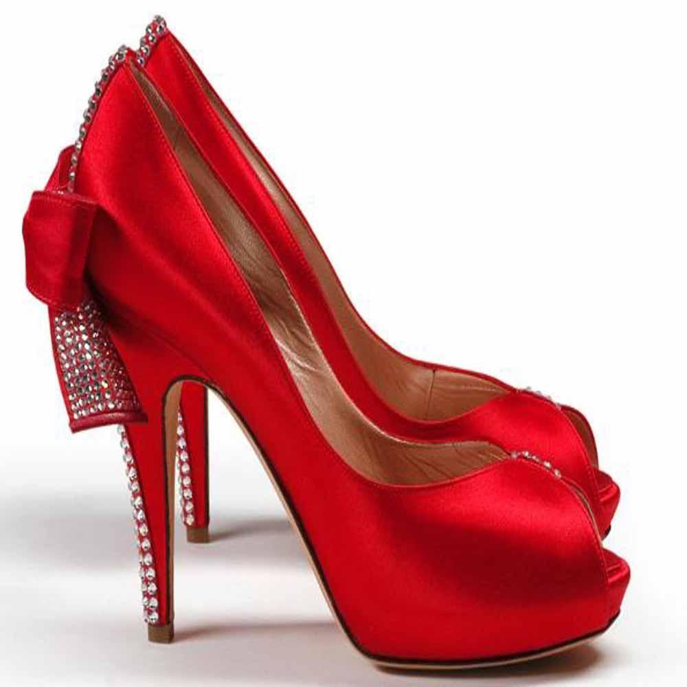 Sizzler Red Satin Embellished #redshoes
