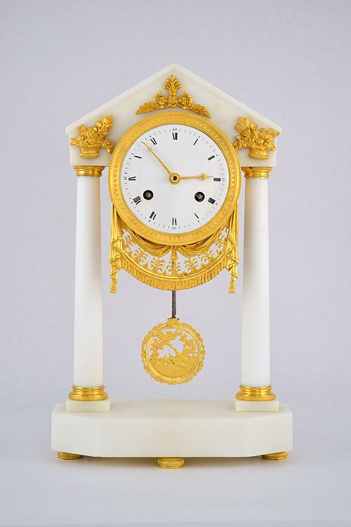Pendule portique fin XVIIIème clock kaminuhr horloge cartel bronze empire