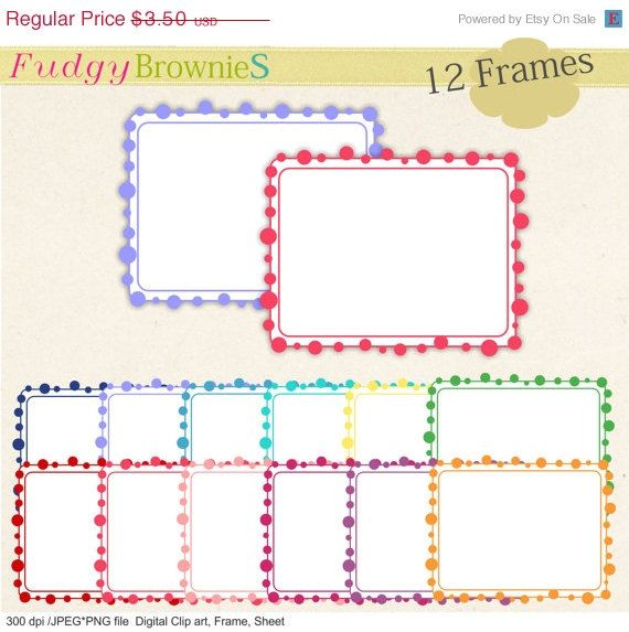 ON SALE Digital frame frames clipart rectangle by fudgybrownies ...
