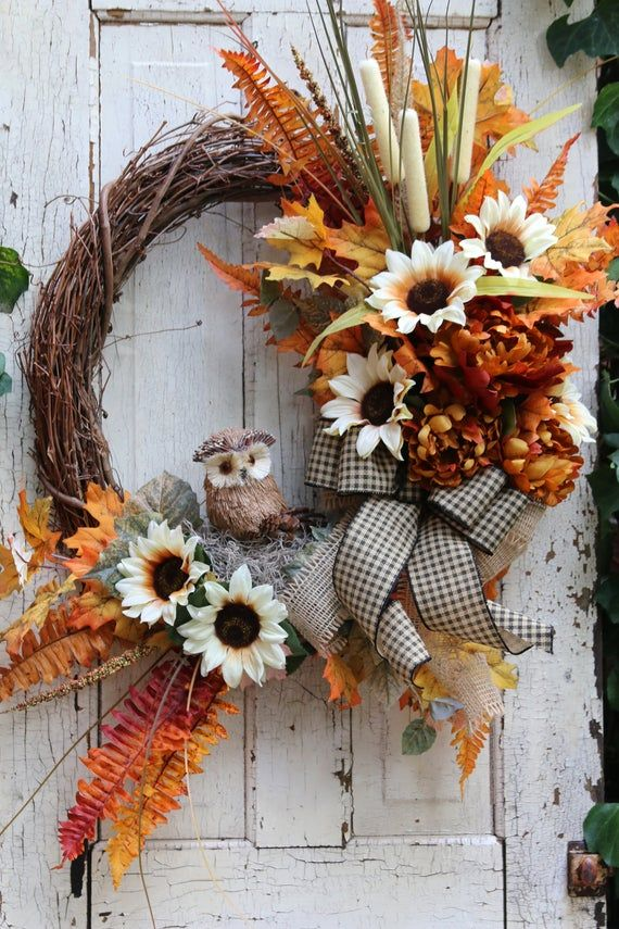 Fall Farmhouse wreath, Fall Door Wreath with Owl, Autumn Sunflower Decor, Double Door Wreath, Thanksgiving Decor, Primitive Harvest wreath