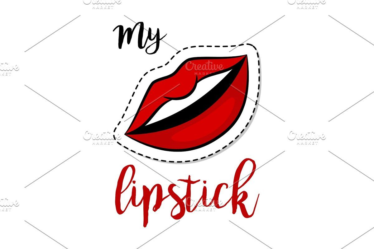 Red Lipstick In The Open Mouth With Glossy Melted Lips Vector