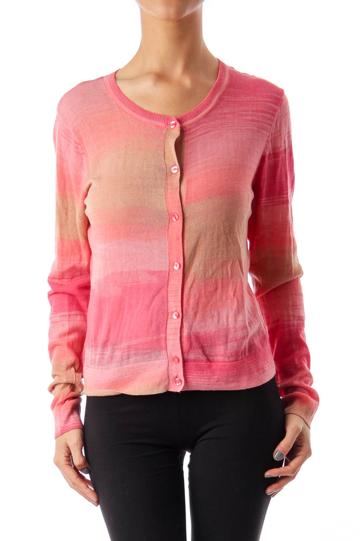 c7be4e735c07db Shop this without using money! Trade. Shop. Discover. #fashionexchange  #prelovedfashion Pink & Brown Round Neck Cardigan by Cynthia Rowley
