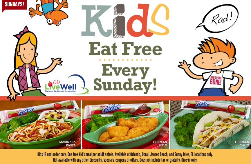 Take A Look At Tony Roma S Healthy Kids Menu And A Kids Eat Free Offer Kids Eat Free Eat Free Free Kids Meals