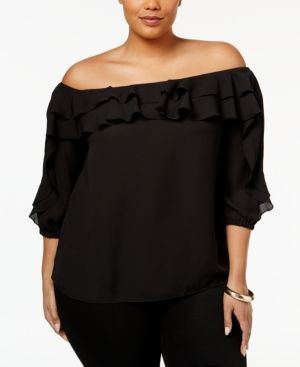 Inc International Concepts Plus Size Ruffled Off-The-Shoulder Top, Only at Macy's - Black 1X