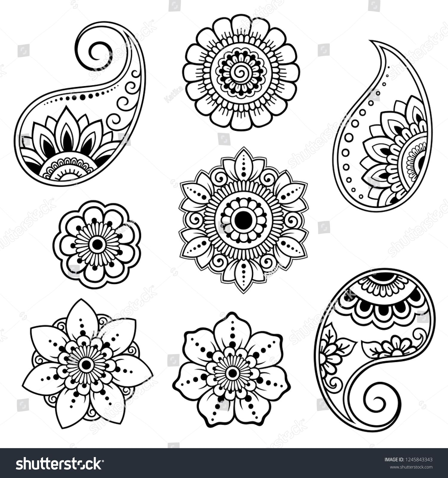 Set Mehndi Flower Pattern Henna Drawing Stock Vector (Royalty Free) 1245843343