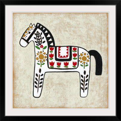 Great Big Canvas Folk Song Ii By Chariklia Zarris Canvas Art Horse Art Print Scandinavian Folk Art Art Prints