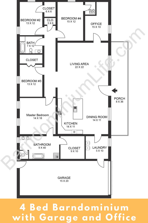Pin on Barndominium Floor Plans