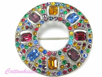 ART DECO PIN Brooch MAGNIFICENT Antique Crystal RHINESTONES FRUIT SALAD Circle