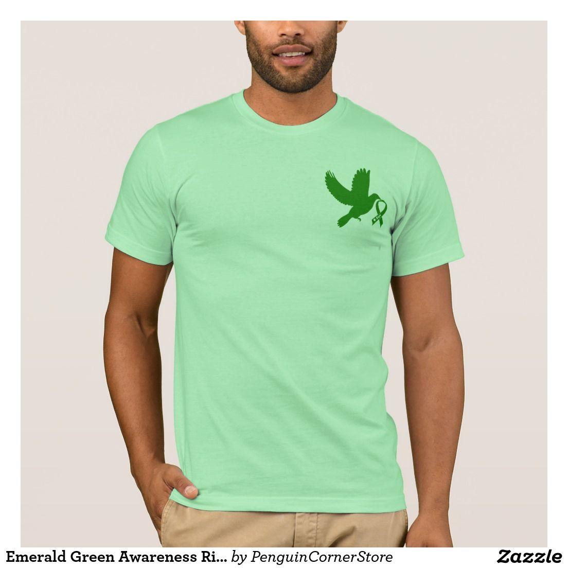 Emerald green awareness ribbon dove of hope tshirt awareness
