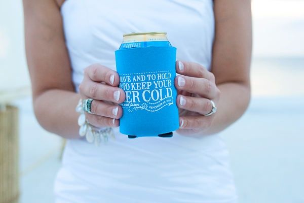 Image result for memorable promotional wedding koozie photos