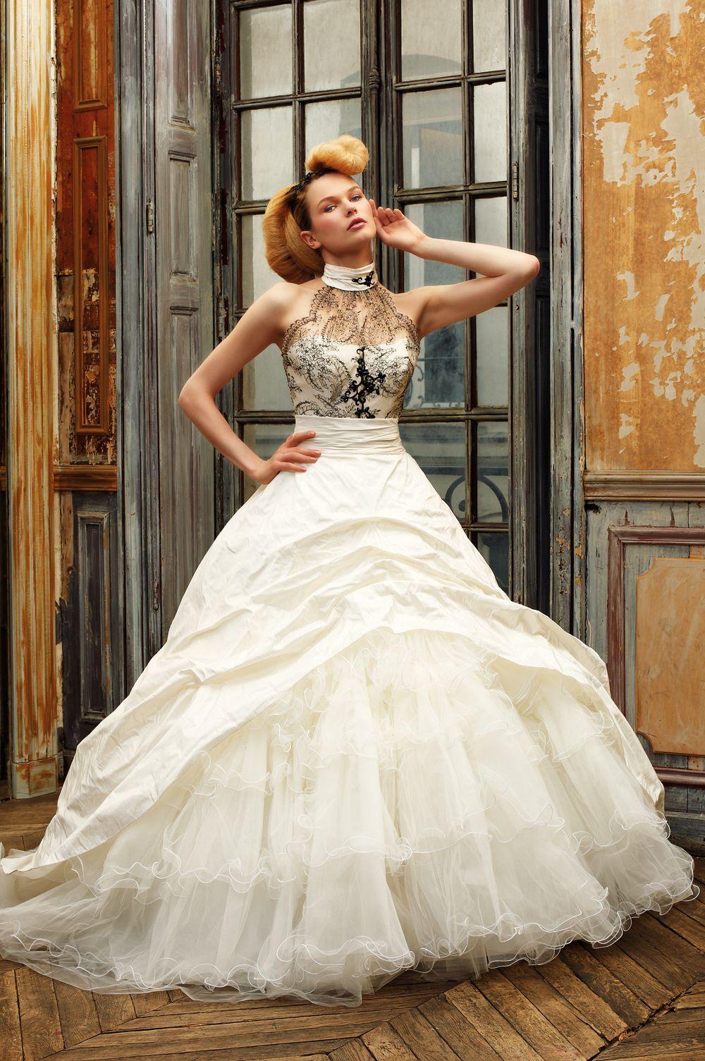 black lace wedding dress Eli Shay Wedding Dress Collections Comedy Ecru Black Dress Calais lace bodice
