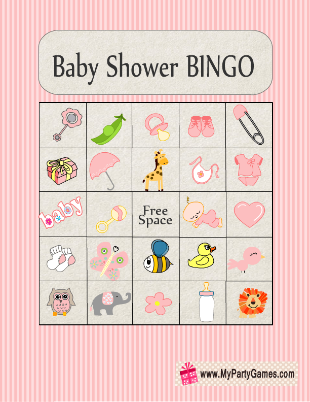 Free Printable Baby Shower Picture Bingo Game Cards In Pink Color