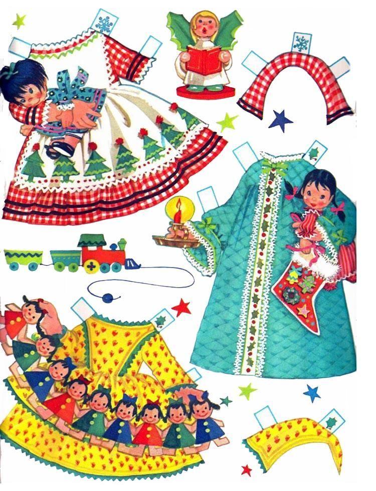 Bonecas de Papel: Little Miss Christmas-clothes 5
