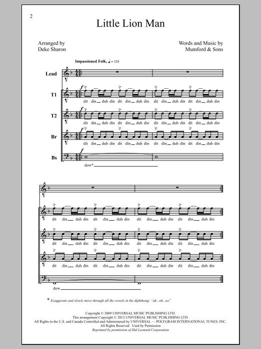 Partition chorale Little Lion Man (arr. Deke Sharon) de Mumford ...