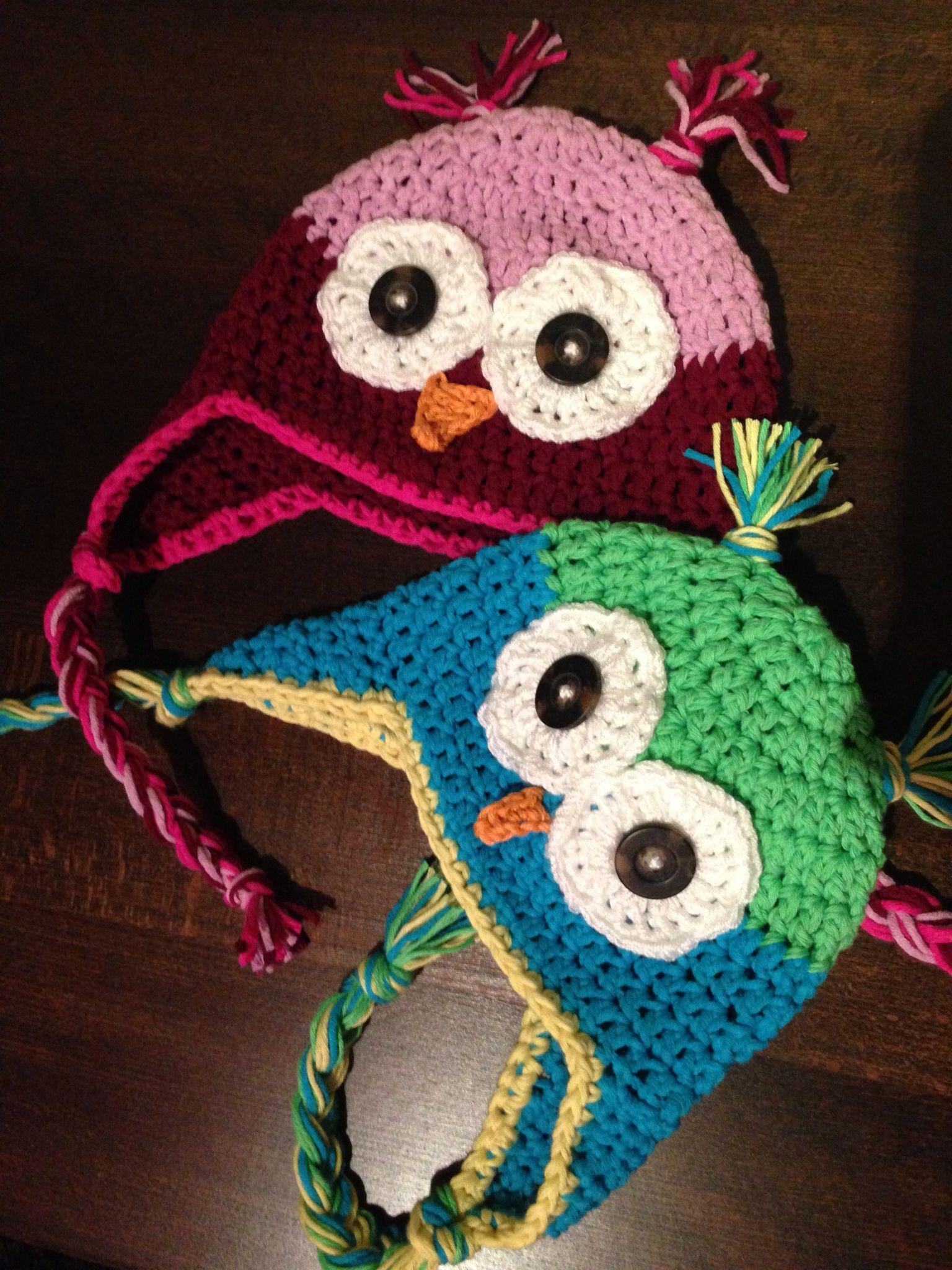 Crotchet owl hats Gehäkelte Eulenmützen