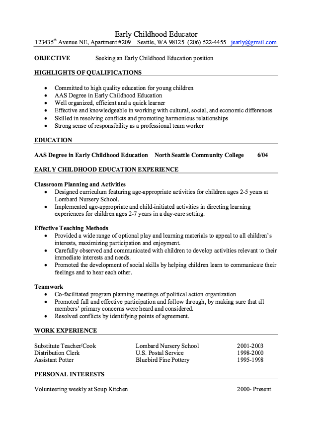 resume samples for early childhood educators