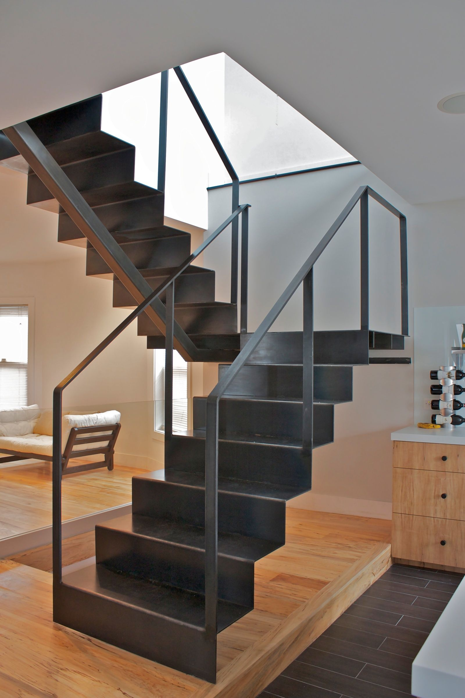 Folded Steel Staircase Design Chicago, Custom Stair Design, Custom Furniture    Iron U0026 Wire With Glass Panels Front Wall Of Stairwell