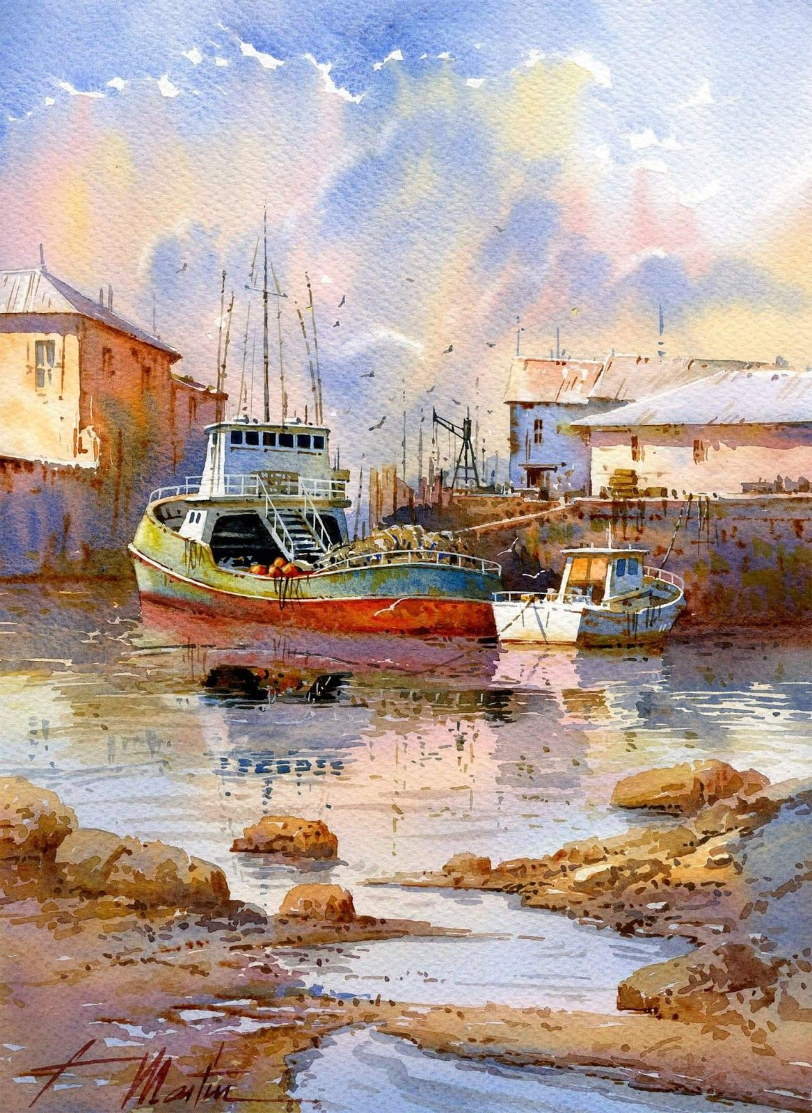 Faustino Martin Gonzalez Watercolor Art Seaside Art Watercolor